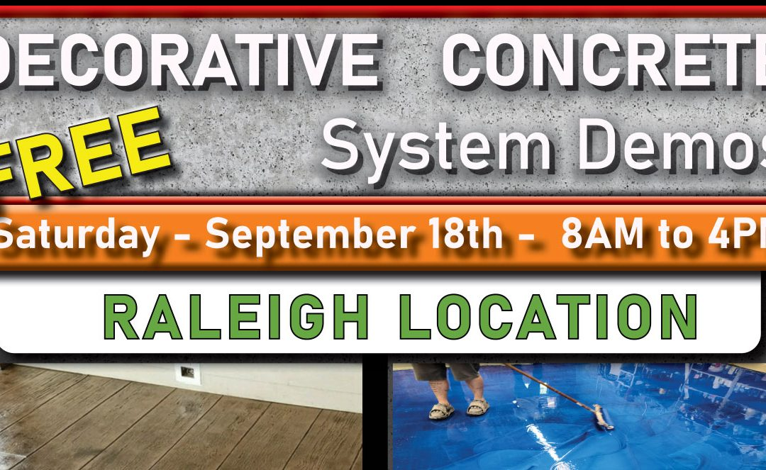 Free Concrete Training Day – September 18th – Raleigh NC.
