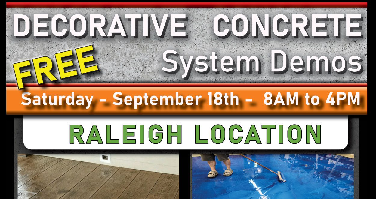 FREE Raleigh Decorative Concrete System Training - Sept 2021