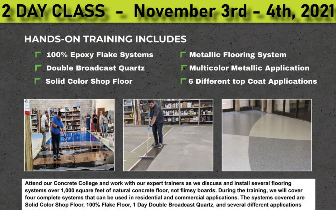 Epoxy Floor Training Class – November 3rd and 4th 2021